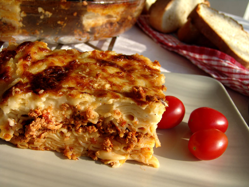 Traditional Pastitsio Cooking In Plain Greek