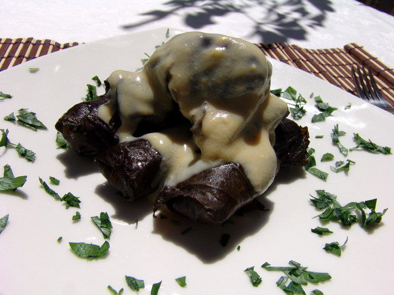 Vine Leaves Stuffed with Minced Meat & Rice (Dolmades)