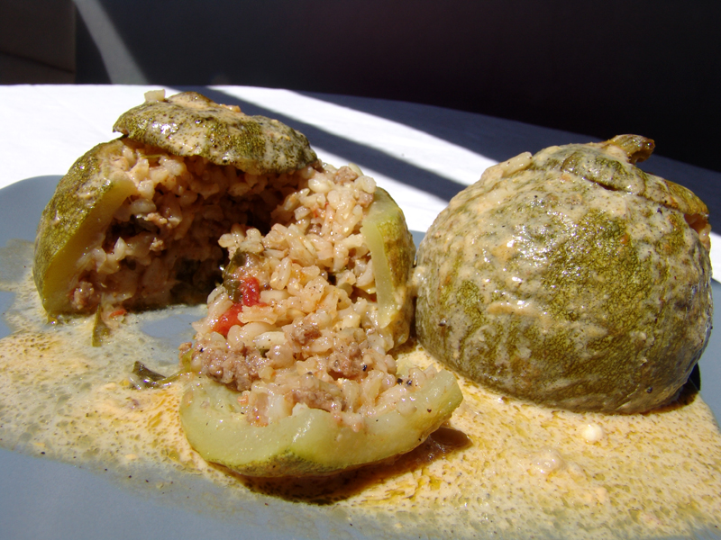 Zucchini stuffed with minced meat & rice in egg-lemon sauce