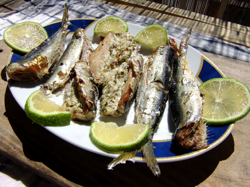 Sardines stuffed with cream cheese & herbs