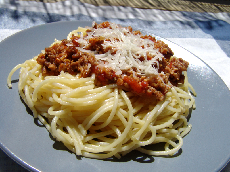 Spaghetti With Minced Meat Sauce Cooking In Plain Greek