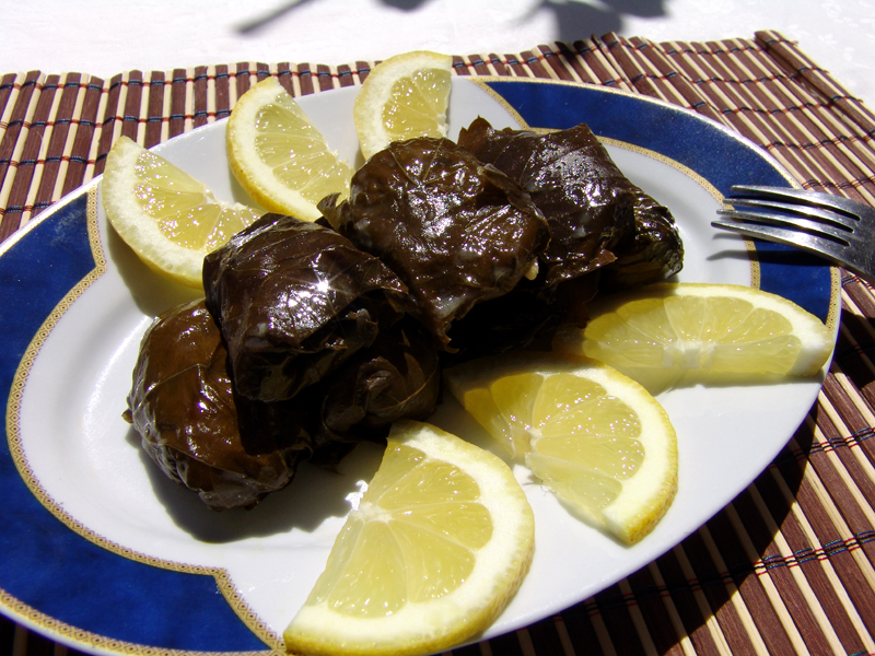 Stuffed vine leaves with rice & herbs (dolmades yalantzi)