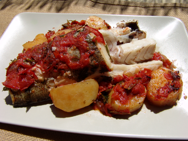 Baked Fish with Tomatoes and onions (Plaki)