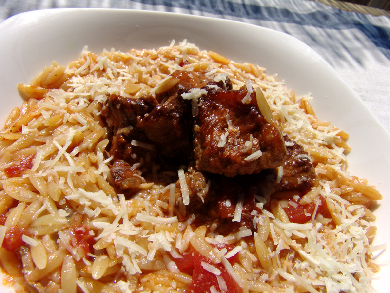 Veal with Tomato Sauce and Orzo