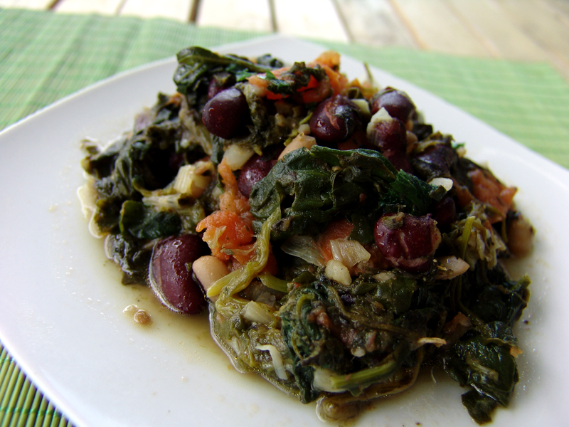 Sautéed greens with beans