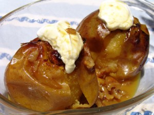 Baked whole apples with raisins and walnuts