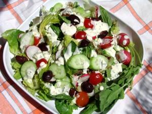Mixed Green Salad with yogurt-cheese dressing
