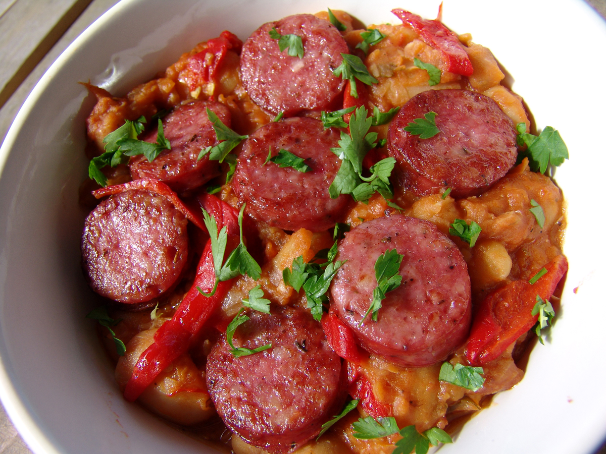 Elephant beans in tomato sauce and sausages | Cooking In Plain Greek